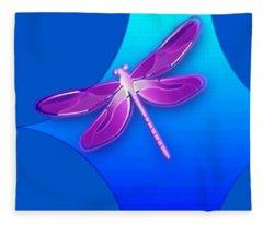 Dragonfly Pink On Blue Fleece Blanket