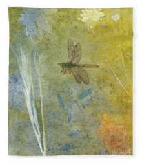 Dragonfly With Plant Impressions Fleece Blanket