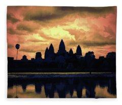 Dramatic Angkor Wat  Fleece Blanket