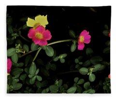 Dramatic Colorful Flowers Fleece Blanket