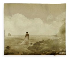 Dramatic Seascape And Woman Fleece Blanket