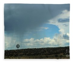 Dramatic Sky Over Windmill Fleece Blanket