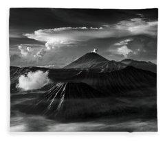 Dramatic View Of Mount Bromo Fleece Blanket