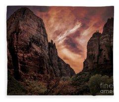 Dramatic Zion National Park Utah  Fleece Blanket