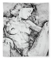 Drawing Beautiful Girl Figure Fleece Blanket