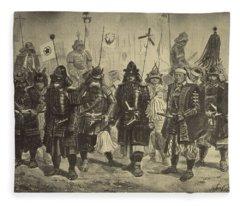 Drawing Of Japanese Warriors Fleece Blanket