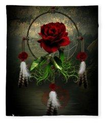 Dream Catcher Rose Fleece Blanket