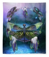 Dream Catcher - Spirit Of The Dragonfly Fleece Blanket