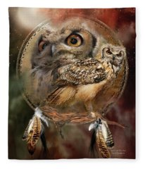Dream Catcher - Spirit Of The Owl Fleece Blanket