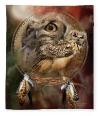 Dream Catcher - Spirit Of The Owl Fleece Blanket