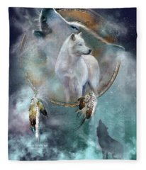 Dream Catcher - Spirit Of The White Wolf Fleece Blanket
