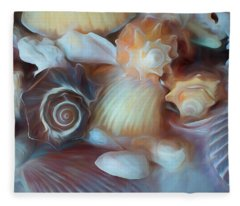 Fleece Blanket featuring the mixed media Dream Of Seashells by Lynda Lehmann