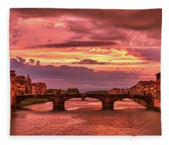 Saint Trinity Bridge From Ponte Vecchio At Red Sunset In Florence, Italy Fleece Blanket