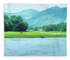 Animals In Li River Fleece Blanket