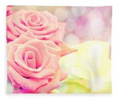 Dreamy Pastel Roses Fleece Blanket