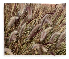 Dried Grasses In Burgundy And Toasted Wheat Fleece Blanket