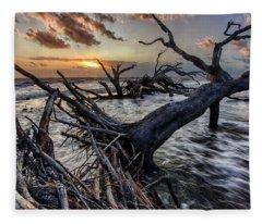 Driftwood Beach 4 Fleece Blanket