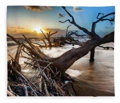 Driftwood Beach 7 Fleece Blanket