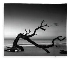 Driftwood Morning In Black And White Fleece Blanket