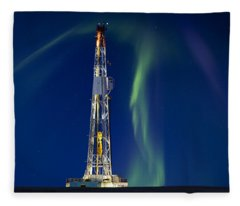 Drilling Rig Saskatchewan Fleece Blanket