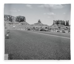 Driving Monument Valley Monochrome Fleece Blanket