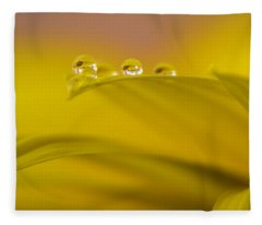 Drops Resting On A Leaf Fleece Blanket