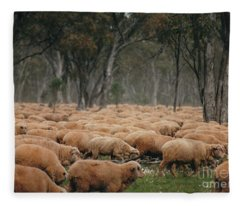 Droving Sheep  At Albert Australia Fleece Blanket