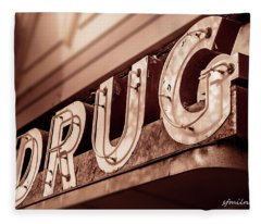 Drug Store Sign - Vintage Downtown Pharmacy Fleece Blanket