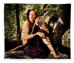 Druid In The Wood Fleece Blanket