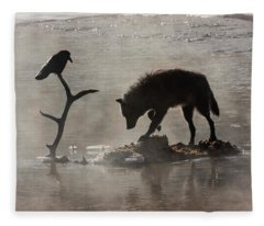 Druid Wolf And Raven Silhouette Fleece Blanket
