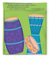 Drums - Thoreau Quote Fleece Blanket
