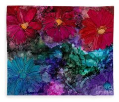 Drunken Flowers Fleece Blanket