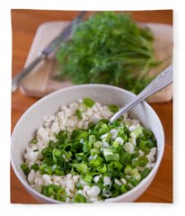 Dry Cottage Cheese Cut Chives Fleece Blanket