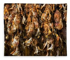 Drying Fish Heads - Iceland Fleece Blanket