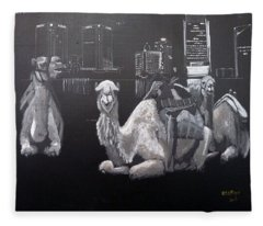 Dubai Camels Fleece Blanket