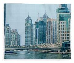Dubai Marina Cityscape Fleece Blanket