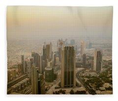 Dubai Skyline Photographs Fleece Blankets