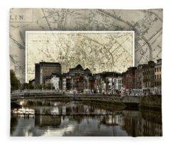 Dublin Skyline Mapped Fleece Blanket
