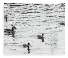 Duck And Ducklings Fleece Blanket