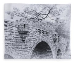 Duck Brook Bridge In Black And White Fleece Blanket