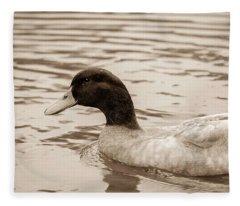 Duck In Pond Fleece Blanket
