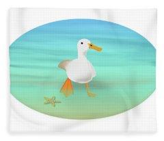 Duck Paddling At The Seaside Fleece Blanket