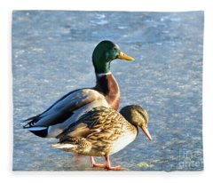 Duck Pair On Frozen Lake Fleece Blanket