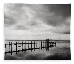 Duck Pier In Black And White Fleece Blanket