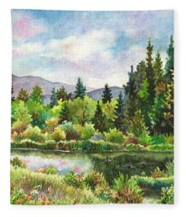 Duck Pond At Caribou Ranch Fleece Blanket
