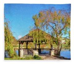 Duck Pond Gazebo At Virginia Tech Fleece Blanket