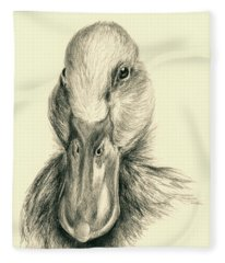 Duck Portrait In Charcoal Fleece Blanket