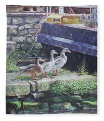 Ducks On Dockside Fleece Blanket