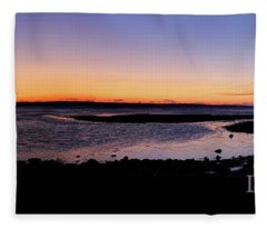 Ducktrap Harbor Sunrise Fleece Blanket