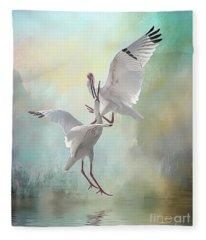 Duelling White Ibises Fleece Blanket